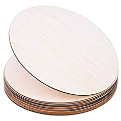 Great Value Set - You will get 12 pack wood circles, great value for your DIY projects, Christmas craft projects or wood burning Smooth Surface – The unfinished wood rounds are made of natural wood with smooth and sturdy surface, easy to stain and pa...