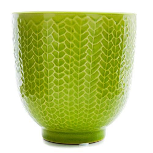 New England Pottery Pedestal Herringbone Planter Garden Urn (5-inch, Lime)