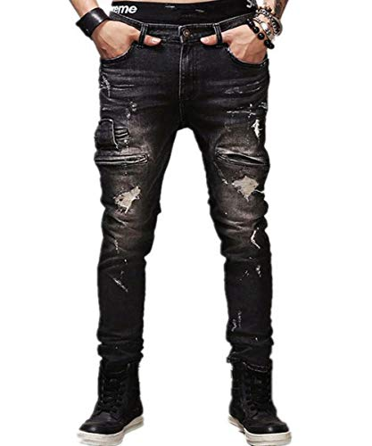 AOWOFS Herren Ripped Jeans Skinny mit Löcher Denim Trouser Pants Fashion Stylish Jeanshose