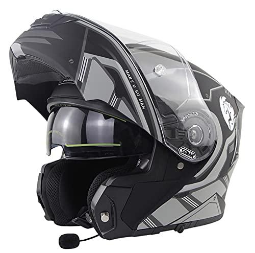 ABDOMINAL WHEEL Bluetooth Integrado Casco De Moto Modular,Casco de Moto Modular con Doble Visera,Adultos Unisex para Respuesta Automática Casco Moto,Cascos De Motocicleta ECE Homologado A,XL=59~60CM
