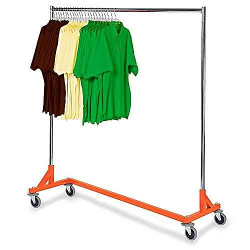 Only Hangers Commercial Grade Rolling Z Rack with Nesting Orange Base