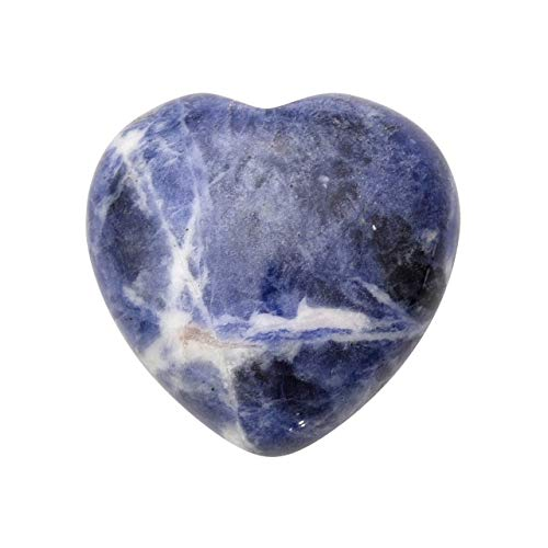 Jovivi Healing Crystals Natural Gemstone Carved Polished Heart Shape Love Sodalite Stone Pocket Palm Stone Rock Collection Chakra Reiki Balancing, 1' Min Size