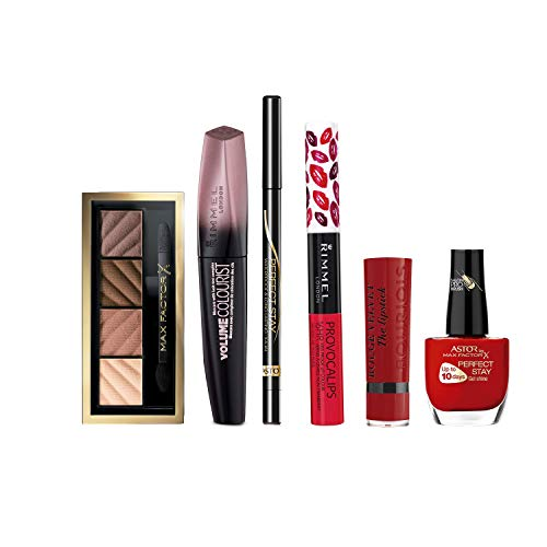 Rimmel London, Max Facto, y Bourjois pack (Mascara pestañas Volume Colourist, Lapiz ojos Long Lasting, Barra labios Rimmel London, Barra labios Bourjois, Gel uñas PerfectStay, Sombra de Ojos paleta)
