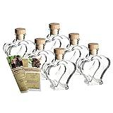 gouveo 12er Set Leere Glasflaschen Herz 200 ml incl. Holzgriffkorken zum selbst Abfüllen Likörflasche Schnapsflasche, Herzflasche