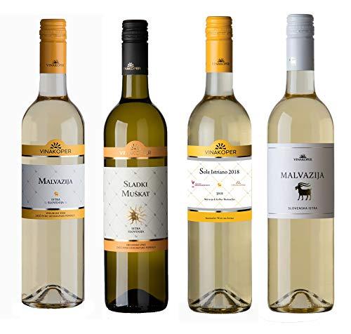 Vinakoper Geschenke für Frauen Probierpaket Malvasia - Malvazija und lieblicher süsser Muskateller Weisswein 4 x 0,75 lt Weinpaket aus Istrien - EINWEG
