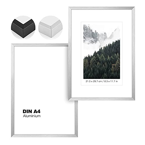 Johgee 2er Set Aluminium Bilderrahmen DIN A4 SIlber,Doppelpack BilderRahmen 20X30 Silber, mit bruchsicherem Plexi-Glas