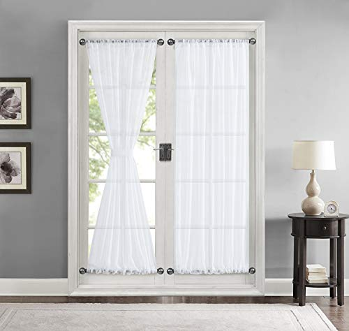 HLC.ME Sheer Voile French Door Patio Sidelight Window Treatment Curtain Panels with Tieback for Kitchen - 2 Panels (White, 54 W x 72 L)