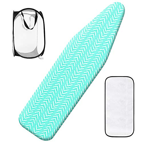 Seiritex Ironing Board Cover and Pad with Elastic Edge Scorch and Stain Resistant Silicone Thick Padding 15quot x 54quot Ironing Board Covers with 1 Popup Laundry Basket and 1 Protective Scorch Mesh Cloth