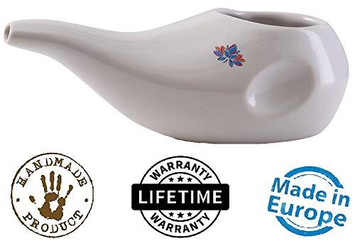 Sattvic Path Best Rated Ceramic Neti Pot - Ergonomic Design and Hand-Made, Dove White