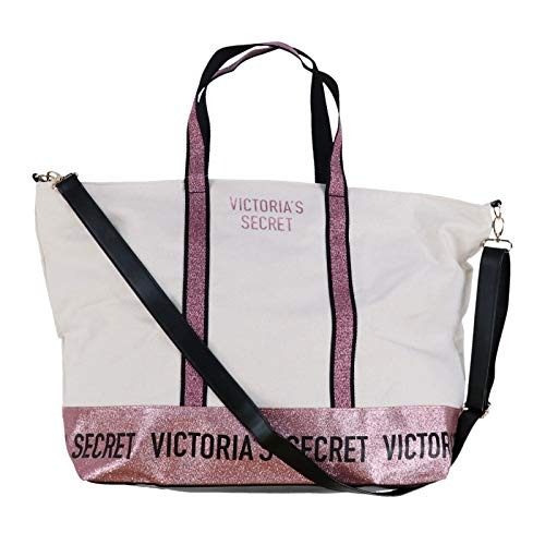 Victoria's Secret Tote Bag Weekender Purple Sparkle Color Ivory Extra Large