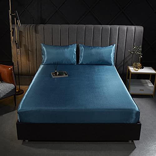 YFGY Sábana Bajera Ajustable Colchones Decorativa Juego de Funda de colchón de satén de sábana de satén de Color sólido Suave Doble,apartamento para Hombres, Mujeres, 150 * 200 cm