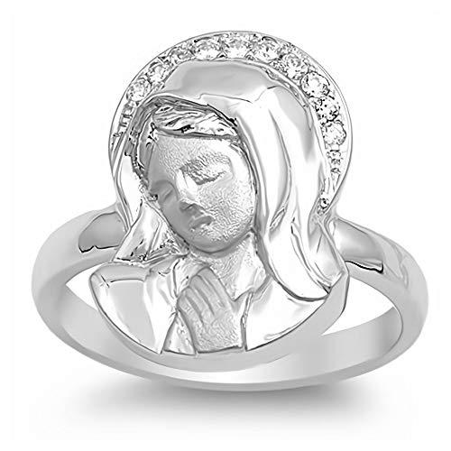 Gemlings Anillo de plata fina con CZ [Borrar] [Virgen María] | Regalo de joyería de Circonia Cúbica