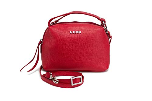Giudi ® Borsa a tracolla da donna in vera pelle rossa, tracolla crossover elegante trend di alta qualità ecopelle, Rosso (Colore: rosso), 17x 22,5x 9,5