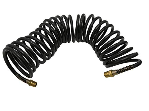 Recoil Air Hose Air Line OD 3/8 Inch Portable Polyurethane Coil Hose for Air Compressor, Heavy Duty Sprayer and Industrial Usage 25FT with 1/4 Inch NPT Fittings