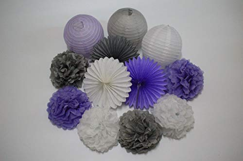 12pcs Mixed Lavender Gray White Tissue Paper Pom Poms Paper Lanterns Tissue Paper Fan Wedding Birthday Decorations Baby Shower Party Decoration Purple Themed Party Decoration