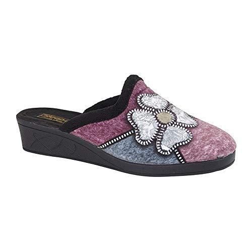 Sleepers - Zapatillas de Estar por casa Modelo Kimberly para Mujer (37 EU) (Negro/Púrpura/Azul/Plata)