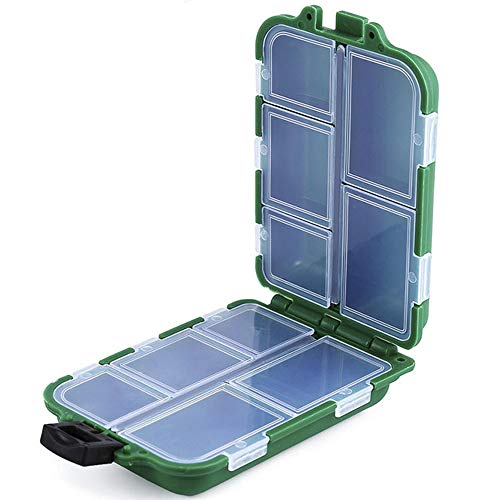 NEWSHOT Caja de aparejos de pesca, 10 compartimentos, doble capa, organizador de almacenamiento, caja de rejilla para anzuelos, cuentas, giradores, mangueras, clips para carpas gruesas.