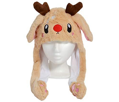 Alsino Weihnachts Mütze Plüsch Weihnachten Partyhut lustige Mütze mit Wackelohren bewegliche Ohren Bart Einheitsgröße für Erwachsene (Rentier mit LED)