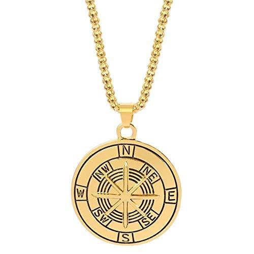 HXSZWJJ Regalos Poste indicador Brújula Collar Colgante Hombre Talisman Amuleto Vendimia de la joyería del Collar del Collar Punky del Partido (Metal Color : A)