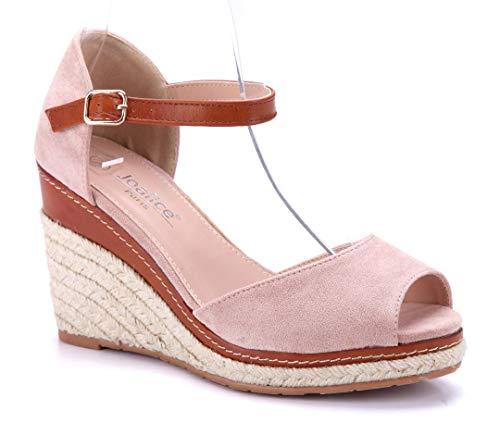 Schuhtempel24 Damen Schuhe Keilsandaletten Sandalen Sandaletten rosa Keilabsatz 10 cm High Heels