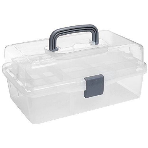 MyGift Clear Plastic 2-Tier Trays Craft Supply Storage Box/First Aid Carrying Case w/Top Handle & Latch Lock