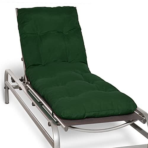 Beautissu Auflage für Gartenliege Flair RL - Deckchair Auflage 190x60x8 cm - Polster für Sonnenliege Liegestuhl Auflage für Gartenmöbel in Dunkelgrün