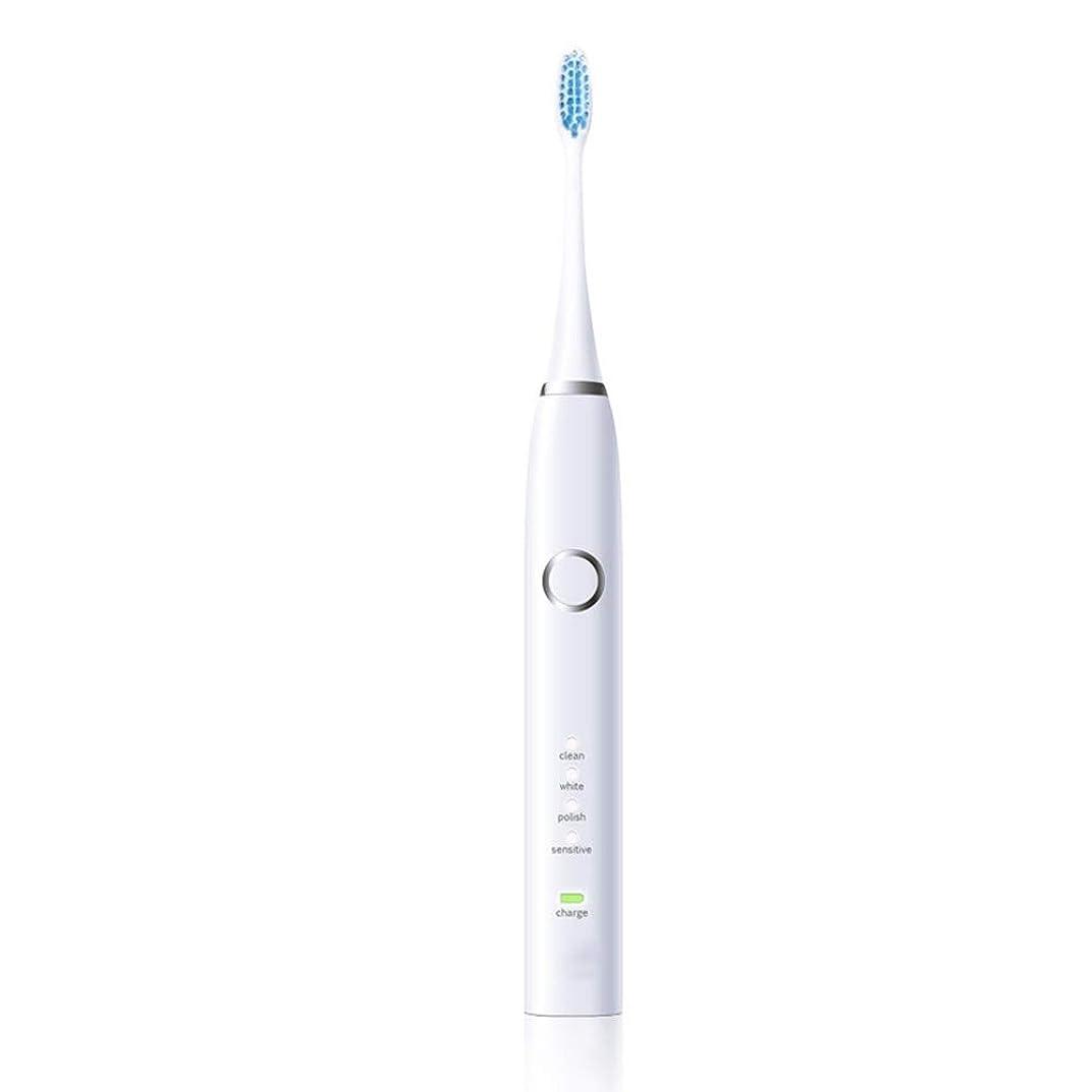 ブルジョン確立おとこ家庭用電動歯ブラシ 電動歯ブラシUSB充電式保護クリーン歯ブラシ 男性用女性子供大人 (色 : 白, サイズ : Free size)