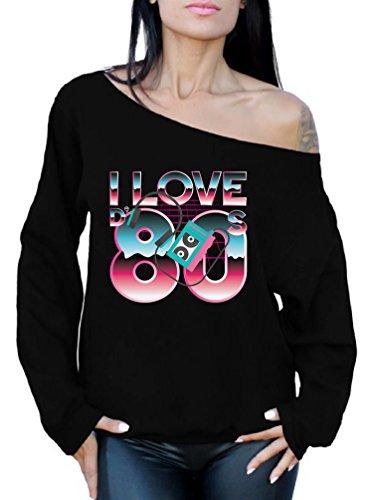 Women's I Love the 80s Off Shoulder Sweatshirt, 8 Colors, S to 2XL