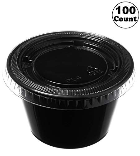 [100 Pack] 4 Oz Leak Proof Black Plastic Condiment Souffle Containers with Lids - Plastic Black Portion Cup with Plastic Lid Perfect for Sauces, Samples, Slime, Jello Shot, Food Storage