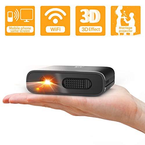 Artlii Mini-Projektor, tragbar, WiFi, DLP, HD, 3D, Pico, wiederaufladbarer Akku für Outdoor-Unterhaltung und Heimkino, kompatibel mit Smartphone und Android