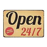 AMELIA SHARPE Cartel vintage de metal abierto 24/7 de entrada gratuita para bar, bar, pub, hogar,...