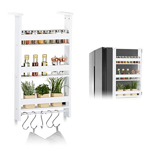 Relaxdays Hängeregal für Kühlschrank, Aufbewahrung von Gewürzen, mit Küchenreling & 5 Haken, MDF, HBT: 74x42x20 cm, weiß, 1 Stück