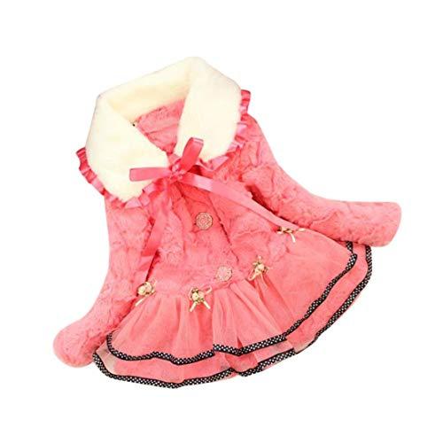 UOMOGO Cappotto Bambina Invernale Autunno Giacca Mantello Bambini Manica Lunga Abbigliamento Esterno Cappotti Top 2-5 Anni, 80-100 cm