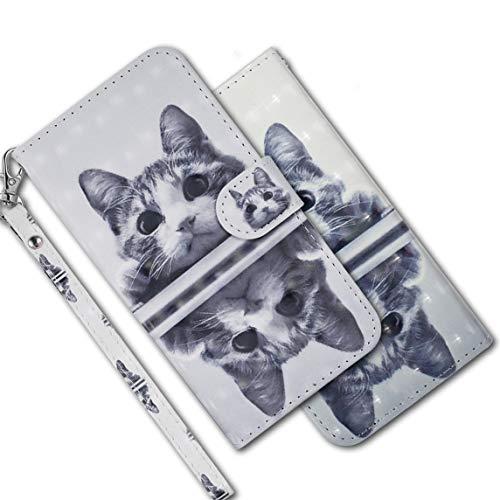 MRSTER Funda para Xiaomi Redmi Note 6 Pro, 3D Brillos Carcasa Libro Flip Case Antigolpes Cartera PU Cuero Funda con Soporte para Xiaomi Redmi Note 6 Pro. RX 3D Mirror Cat