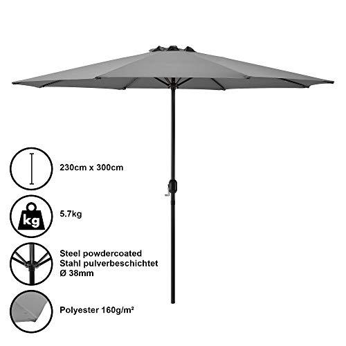 [casa.pro] Sombrilla Ø 300cm [gris] con manivela parasol para jardín, terraza, balcón patio