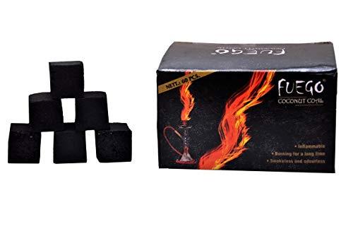 500gm Fuego Coconut Odorless Cube Shaped Hookah Charcoals Smokeless Hukkah Coal 60PCS (500GM)