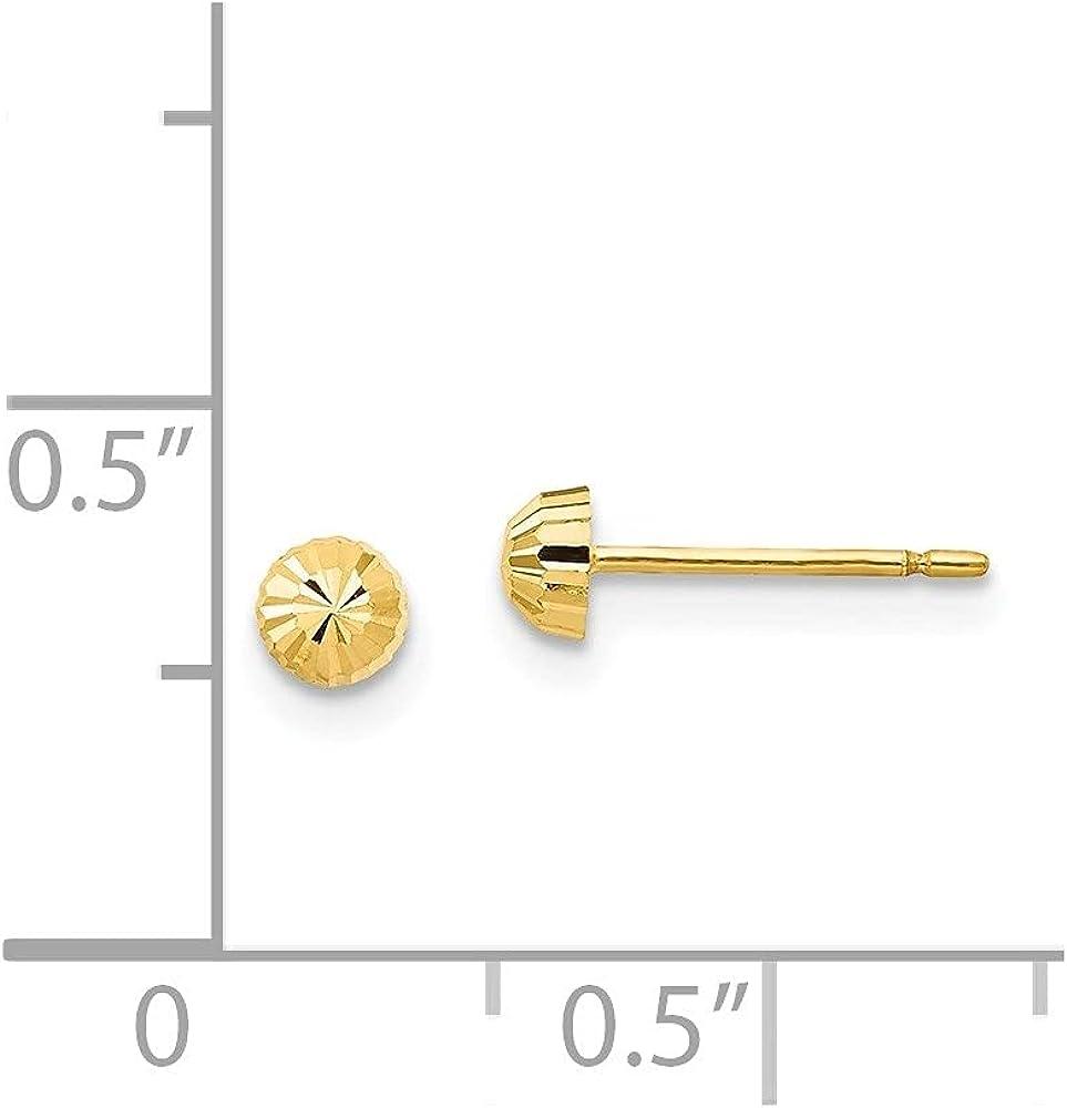 14k Yellow Gold Diamond Cut Half-Ball Stud Earrings (L-3 mm, W-3 mm)