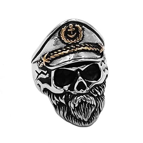 FLQWLL Vintage Navy Captain Beard Ring Anillo De Ancla De Calavera Anillo De Amuleto De Locomotora Punk De Moda,9