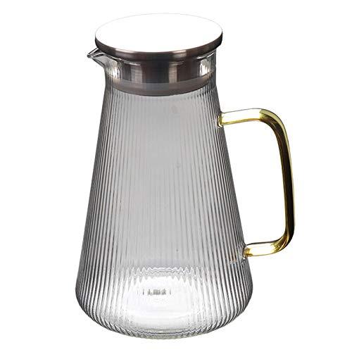 Jarra de agua de cristal con tapa de acero inoxidable y mango dorado para bebidas caseras, té, zumo y leche