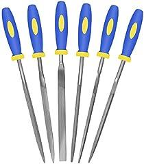 Ensemble de mini-limes à aiguille (6 pièces en acier au carbone) en acier allié renforcé, comprend une lime plate, plate, carrée, triangulaire, ronde et demi-ronde (longueur totale de 6 po)