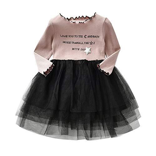 Huihong Kleinkind Säuglings Baby Kinder Mädchen Tutu Tüll Kleider Brief Print Prinzessin Kleid Outfits Kleidung (Khaki, 18-24 Monate / 100)