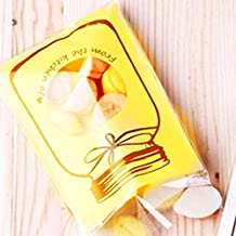 100pcs Cookies Bags Self-Adhesive Party Cellophane Bag Candy Bags Plastic 7 * 10+3cm,Yellow