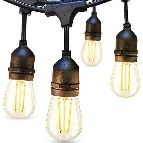 Bbounder Lichterkette Außen LED 14,6M mit 2W Dimmbaren Glühbirnen aus Kunststoff Wetterfeste Dekorative Gartenleuchten für Party, Geburtstag, Weihnachten und Hochzeit