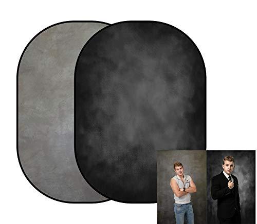KateHome PHOTOSTUDIOS 150x200cm Fondo de fotografía de Retrato de Doble Cara Negro...