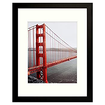 Frametory 11x14 Black Picture Frames - Made to Display Pictures 8x10 with Mat or 11x14 Without Mat - Wide Molding - Pre-Installed Wall Mounting Hardware  Black