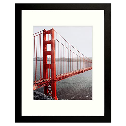 Frametory, 11x14 Picture Frame - Made to Display Pictures 8x10 with Mat or 11x14 Without Mat - Wide Molding - Pre-Installed Wall Mounting Hardware (Black, 1 Pack)