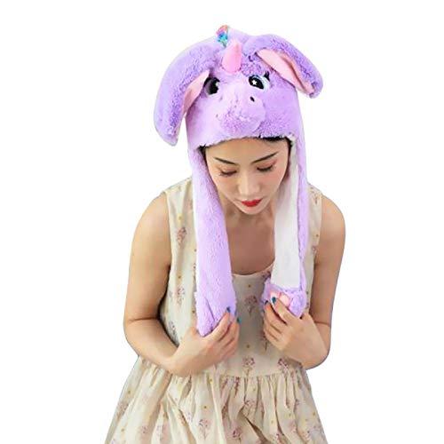 LINGZIA Orejas de conejo en movimiento de felpa sombrero mano pellizcando la oreja para mover las orejas verticales gorra niños mujeres fiesta regalos de rendimiento sombrero de niña A03