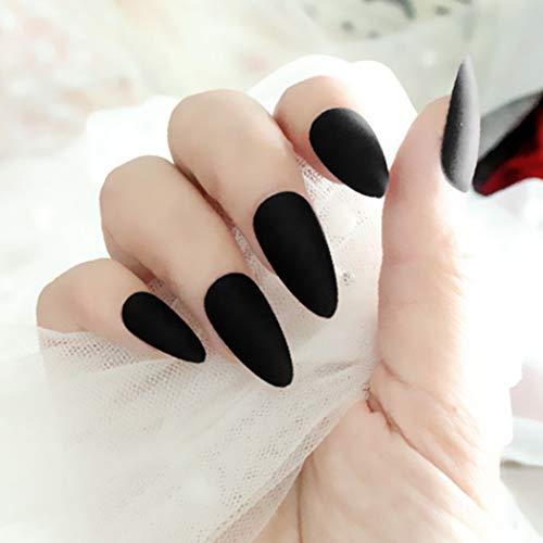 Milanco Matte Fake Nails Stiletto Sharp False Nails Full Cover Press on Nails Tips Art Sets 24Pcs for Women (Black)