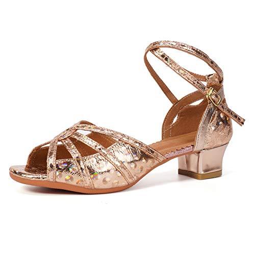 HIPPOSEUS Zapatos de Baile Latino Brillantina para niñas Bailes de salón Sandles con tacón bajo, Modello TX53-4,Oro Rosa,27 EU