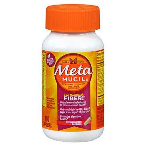 Meta Mucil 3 in 1 MultiHealth Fiber Supplement Capsules - 100 Capsules, Pack of 6